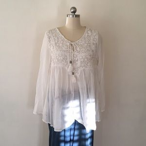Mango Crochet Lace Boho Blouse, Size Small